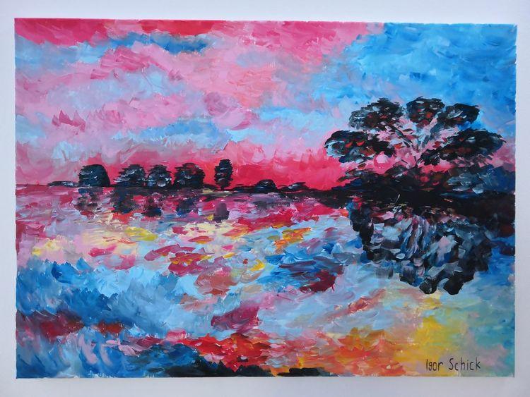 Acrylmalerei, Malerei, Meer, Farben,