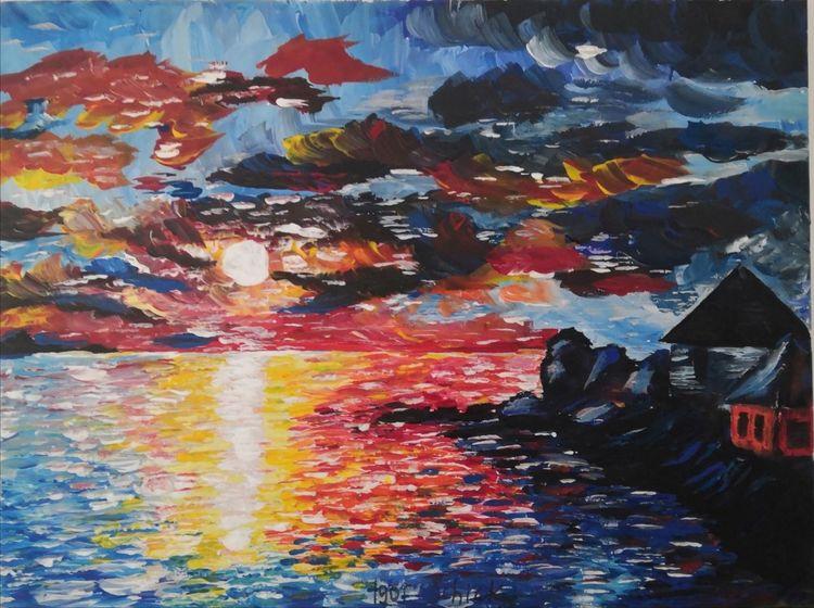 Sonne, Acrylmalerei, Haus, Meer, Landschaft, Farben