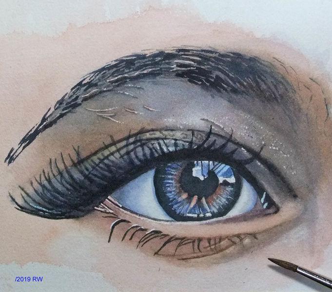 Augen, Augenbraue, Iris, Aquarellmalerei, Wimpern, Aquarell