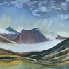 Berge, Herbst, Nebel, Aquarell