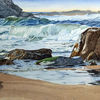 Aquarellmalerei, Küste, Felsen, Landschaft