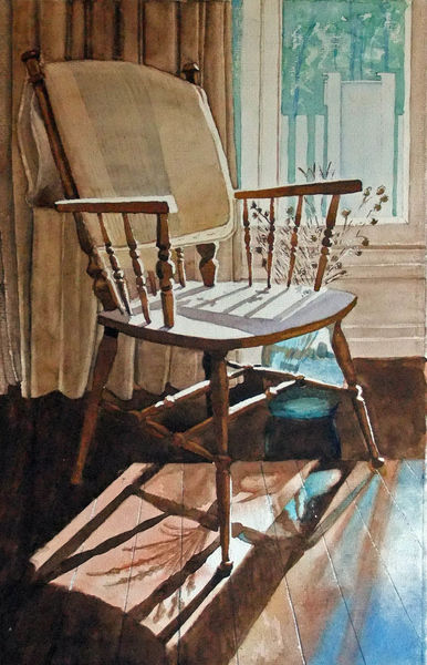 Fenster, Sessel, Diele, Licht, Schatten, Aquarell