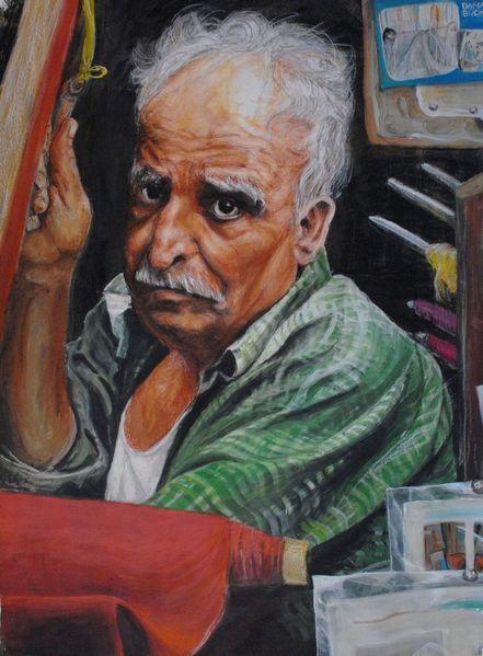 Portrait, Weber, Damaskus, Mann, Mischtechnik,