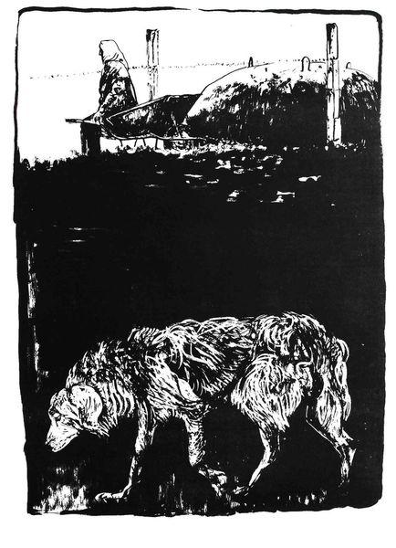 Hund, Schubkarre, Bunker, Frau, Druckgrafik, 2009