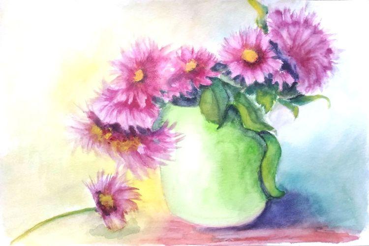 Pflanzen, Aquarellmalerei, Stillleben, Blumen, Grün, Vase