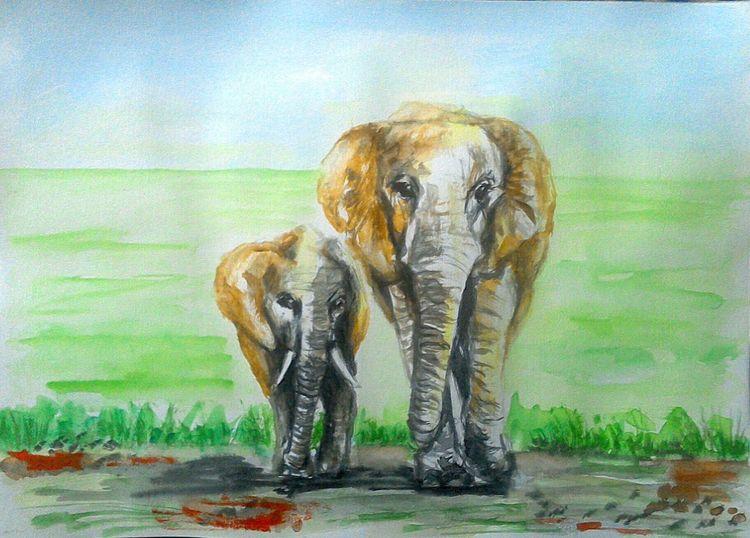 Aquarellmalerei, Tierportrait, Afrikanischer elefant, Tiere, Grün, Natur