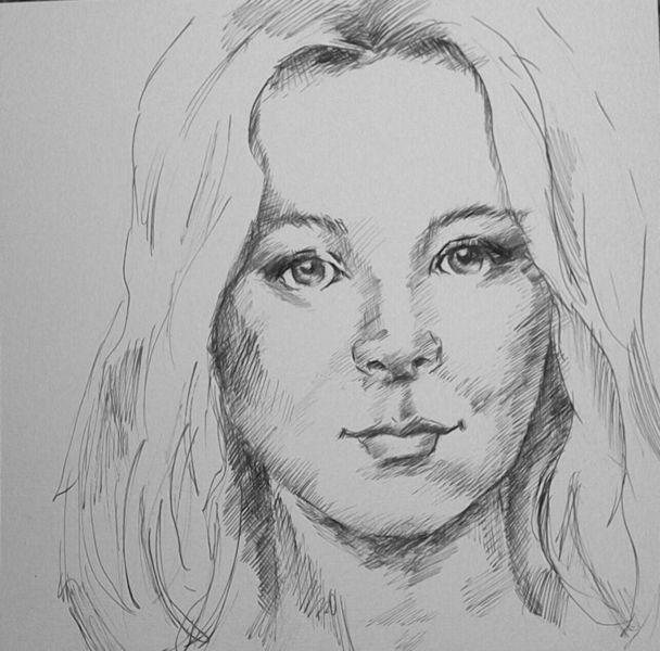 Portrait, Gesicht, Zeichnung, Frau, Tuschmalerei, Frauenportrait