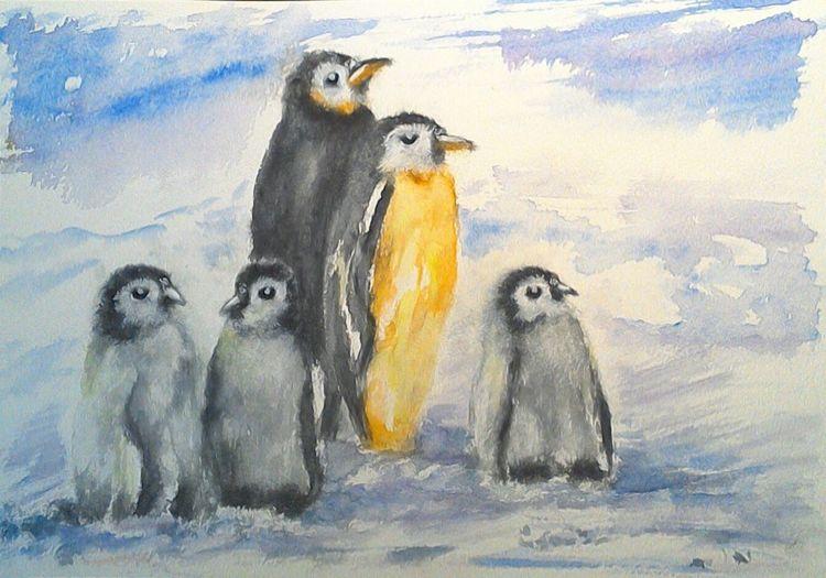 Tiere, Himmel, Aquarellmalerei, Pinguin, Kälte, Kaiserpinguine