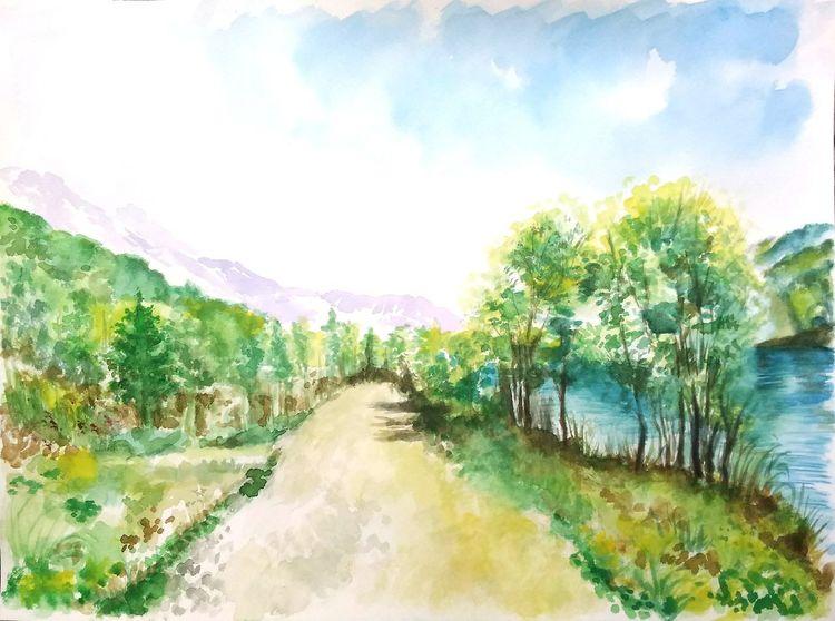 Landschaft, Sommer, Baum, Aquarellmalerei, Berge, See