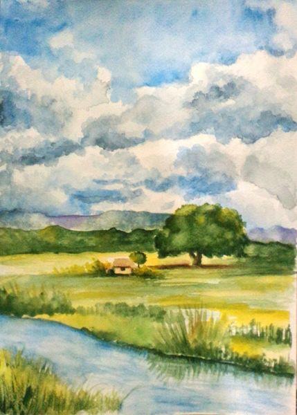 Natur, Hütte, Baum, Wolken, Berge, Aquarellmalerei
