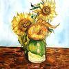 Sonnenblumen, Aquarellmalerei, Blumen, Vase