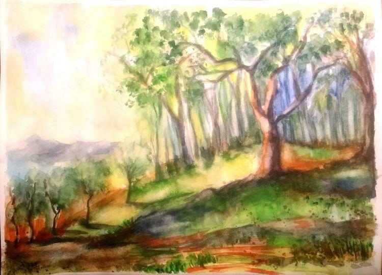 Berge, Grün, Aquarellmalerei, Blumen, Gelb, Landschaft
