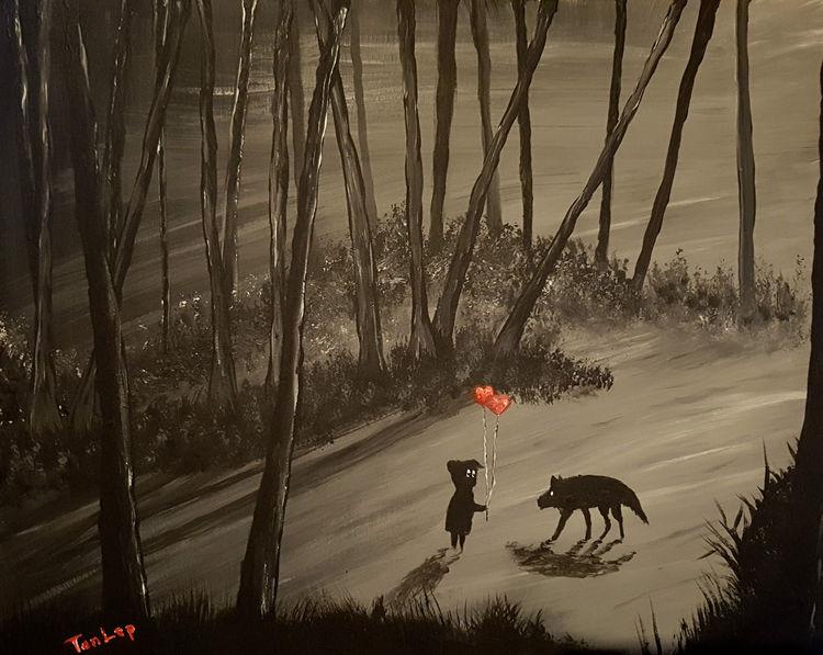 Landschaft, Schwarz, Wald, Acrylmalerei, Malerei, Begegnung