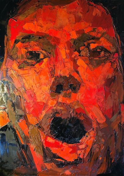 Rot, Abstrakt, Portrait, Modern malerei, Malerei