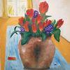 Vase, Blumen, Tulpen, Malerei