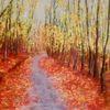 Herbst, Blätter, Weg, Baum