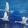 Schwan, Fliegen, Wasser, Malerei