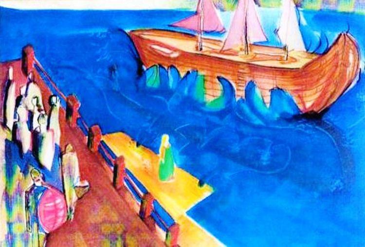 Landschaft, Helligkeit, Farben, Schiff, Aquarellmalerei, Frische