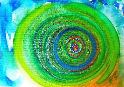 Aquarellmalerei, Geist, Grün, Spirale, Aquarell,