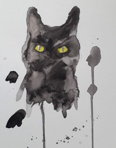 Tiere, Aquarellmalerei, Katze, Kater, Schwarz, Wasser