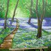 Wohnzimmer, Aryl malerei, Landschaft, Blau