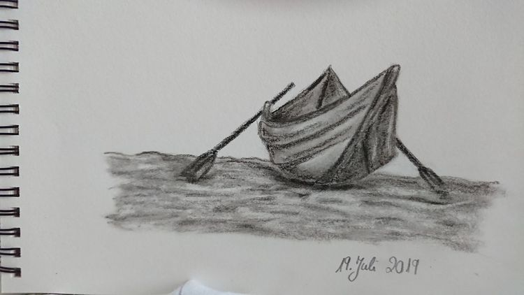 Meer, Boot, Kohlezeichnung, Zeichnungen
