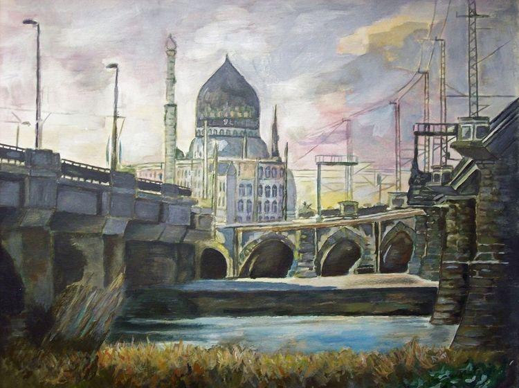 Aquarellmalerei, Yenice, Dresden, Aquarell, Elbe