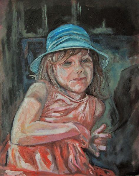 Mädchen, Blauer hut, Ölmalerei, Portrait, Malerei, Hut