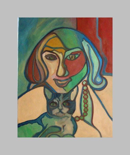 Malerei, Modern, Frau, Katze,