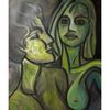 Acrylmalerei, Begierde, Frau, Malerei