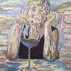 Frau, Portrait, Malerei, Weinglas