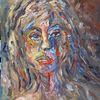 Frau, Portrait, Farben, Malerei