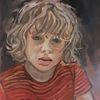 Junge, Mädchen, Portrait, Malerei