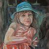 Ölmalerei, Portrait, Malerei, Blauer hut