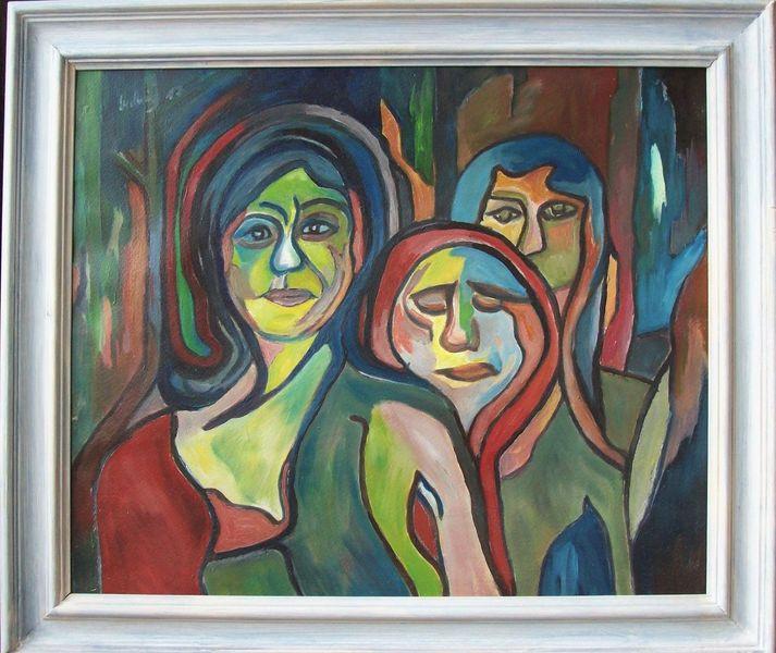 Abstrakt, Malerei, Frau, Modern, Heimweg