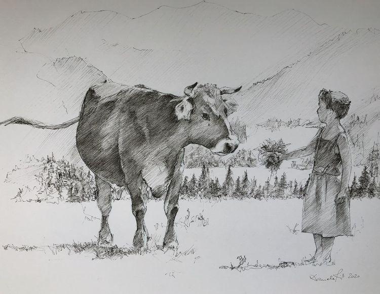 Bayer, Zeichnen, Kuh, Allgäuer, Tuschmalerei, Sommer