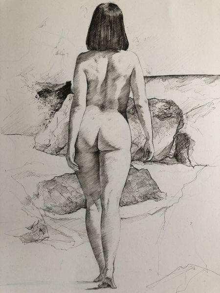 Rücken, Sommer, Sonne, Meer, Frau, Malerei