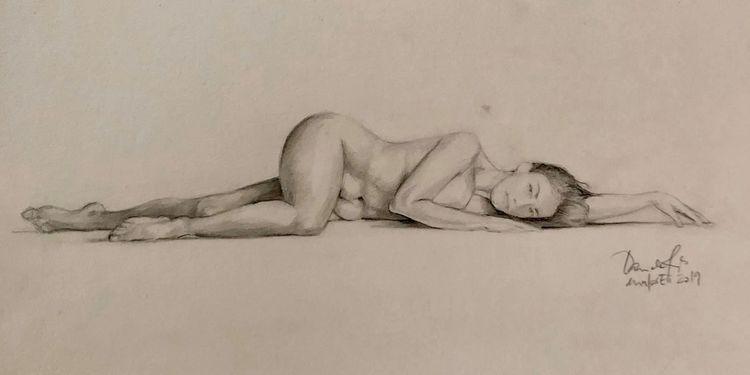 Skizze, Frau, Akt, Pose, Malerei, Zeichnen