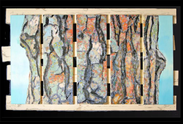 Fust, Umwelt, Ölmalerei, Baum, Kiefer, Stamm