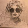 Mädchen mit sonnenbrille, Bleistiftzeichnung, Din a4 unvollendet, Zeichnungen