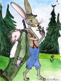 Jagd, Mord, Ist ihr hobby, Aquarell, Bunt, Hase
