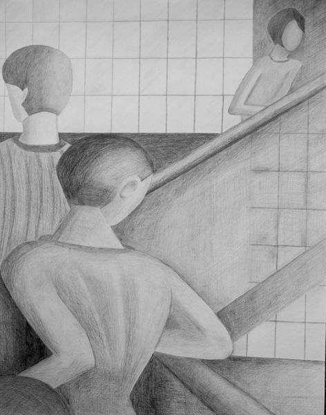 Menschen, Bauhaus, Bleistiftzeichnung, Zeichnungen