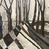 Winter, Wald, Acrylmalerei, Malerei