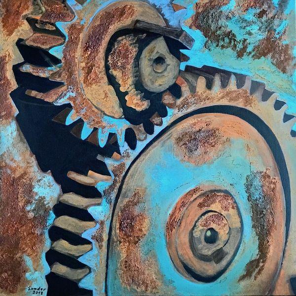 Zahnrad, Rost, Acrylmalerei, Malerei, Technik