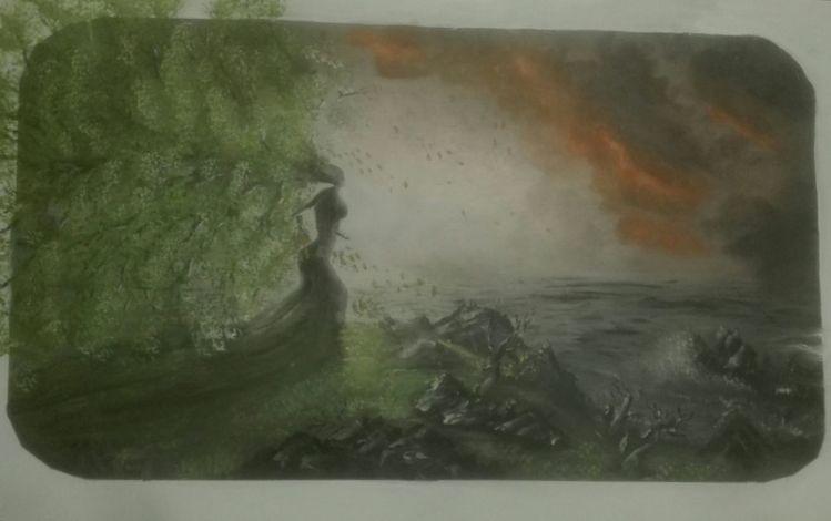 Meer, Natur mensch, Baum, Landschaft, Malerei