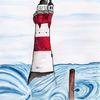 Blau, Aquarellmalerei, Leuchtturm, Landschaft malerei