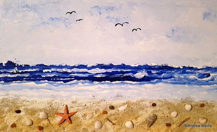 Welle, Meer, Acrylmalerei, Malerei