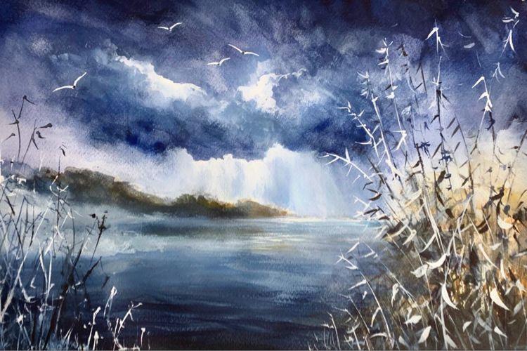 Malerei, Aquarellmalerei, See, Landschaft, Gewitter