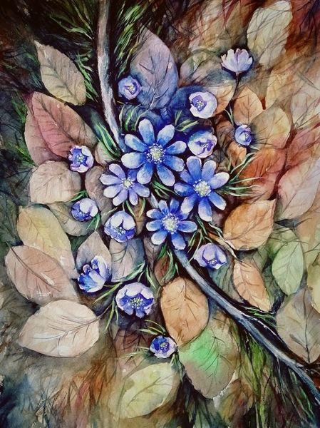 Landschaft malerei, Wald, Aquarellmalerei, Pflanzen, Blumen, Malerei
