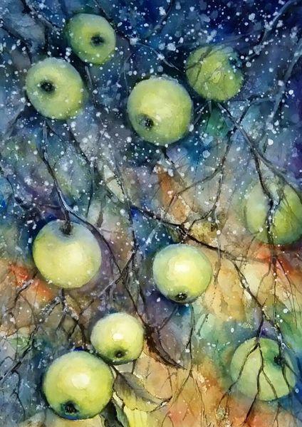 Landschaft malerei, Pflanzen, Landschaft, Aquarellmalerei, Malerei, Apfel